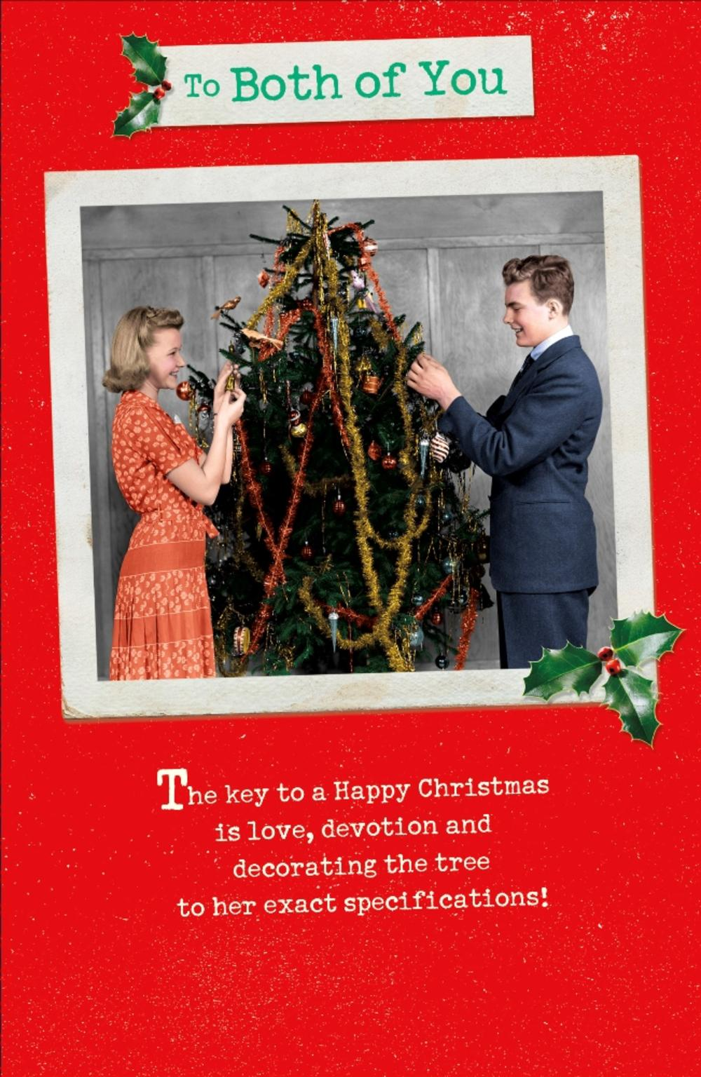 To Both Of You Funny Retro Christmas Greeting Card