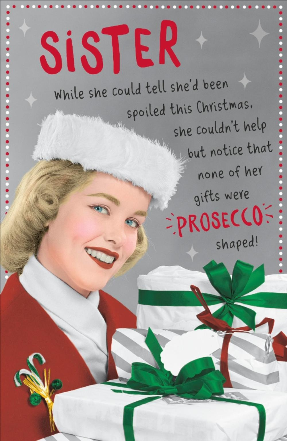 Retro Christmas.Sister Funny Retro Christmas Greeting Card