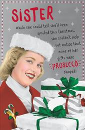 Sister Funny Retro Christmas Greeting Card