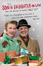 Son & Daughter-In-Law Funny Retro Christmas Greeting Card