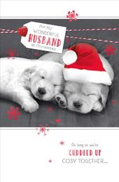 Wonderful Husband Talk To The Paws Christmas Greeting Card