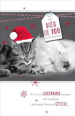 To Both Of You Talk To The Paws Christmas Greeting Card