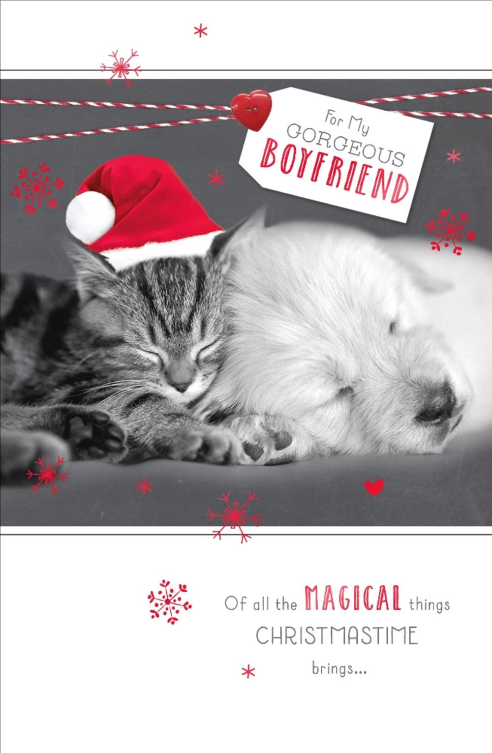 Gorgeous Boyfriend Talk To The Paws Christmas Greeting Card