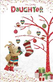 Boofle Daughter Embellished Christmas Greeting Card