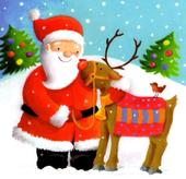 Pack of 16 Mini Santa & Reindeer Christmas Cards
