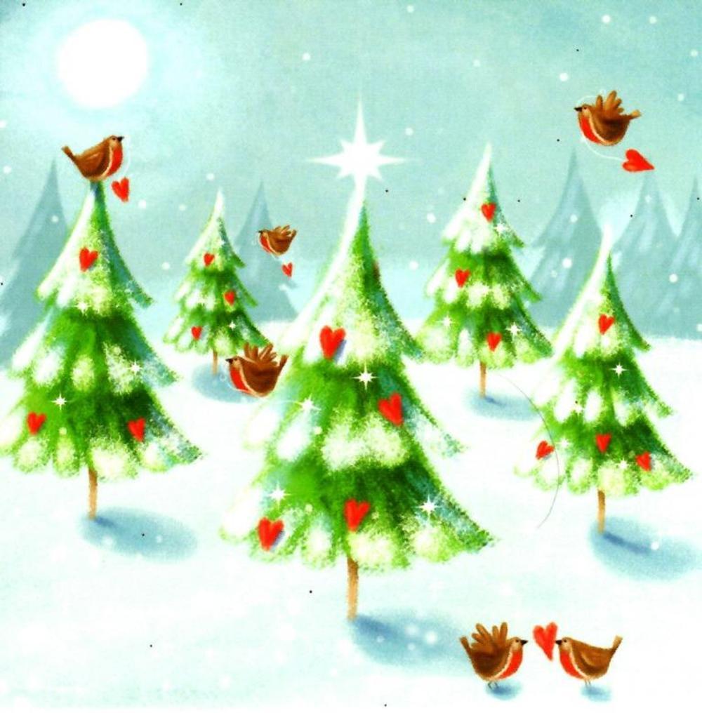 Pack of 16 Mini Christmas Tree Christmas Cards