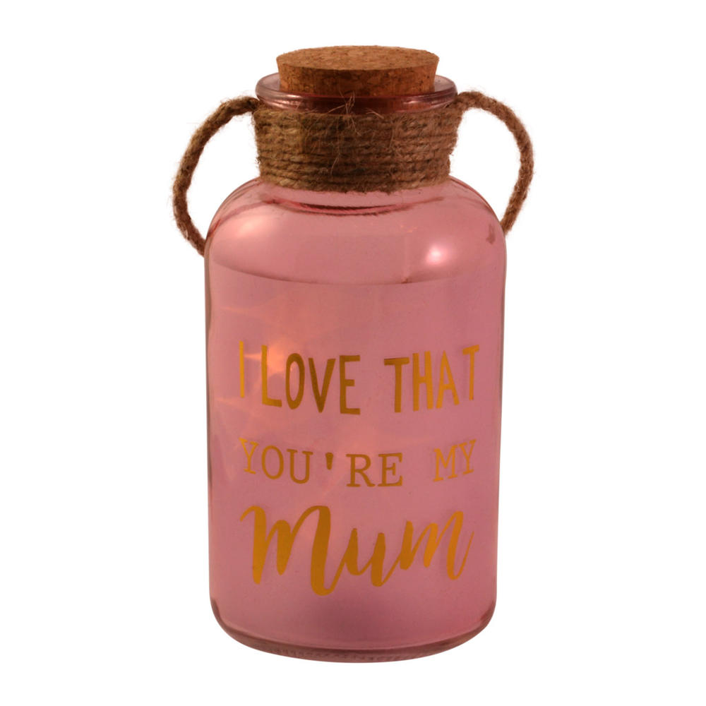 Mum Pink Light Up Illuminated Jar With Rope