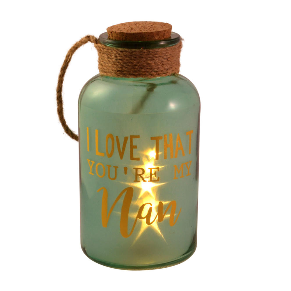 Nan Green Light Up Illuminated Jar With Rope Gift