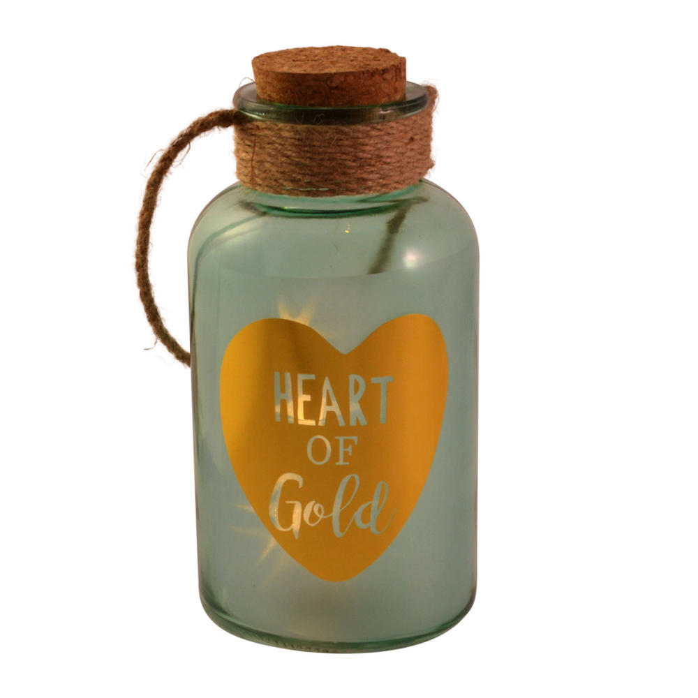 Heart Of Gold Blue Light Up Illuminated Jar With Rope