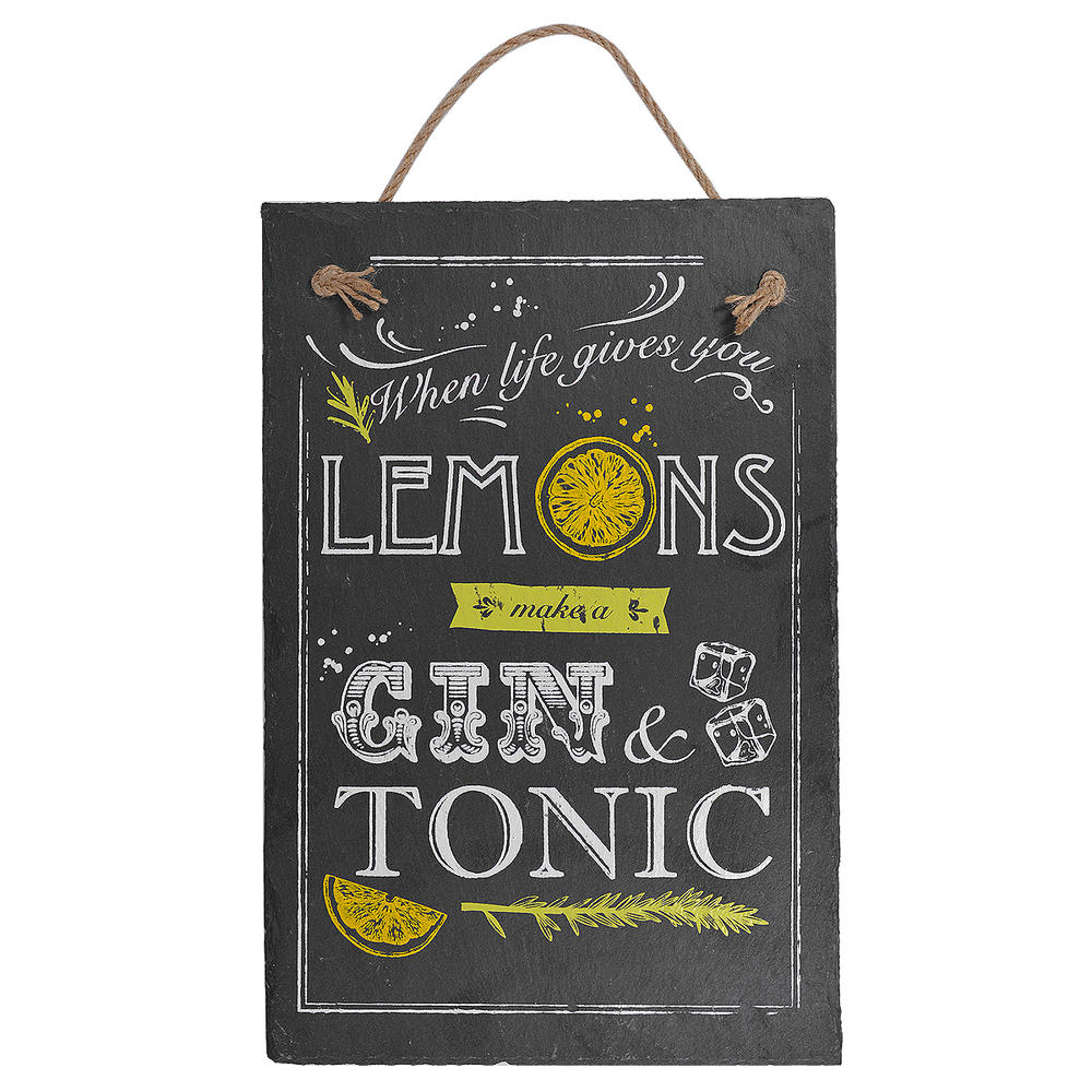 When Life Gives You Lemons Hanging Slate Plaque