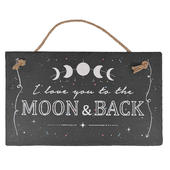 I Love You To The Moon & Back Hanging Slate Plaque