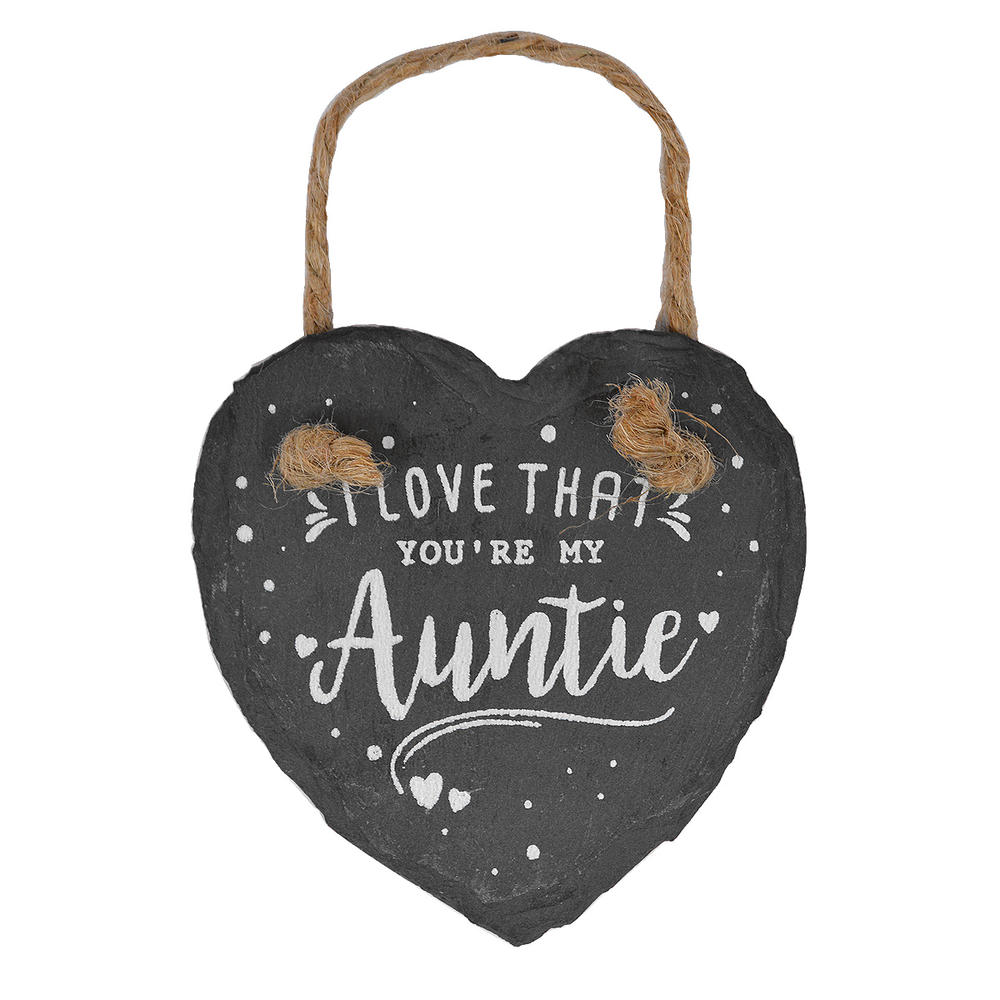 I Love That You're My Auntie Mini Heart Shaped Hanging Slate Plaque