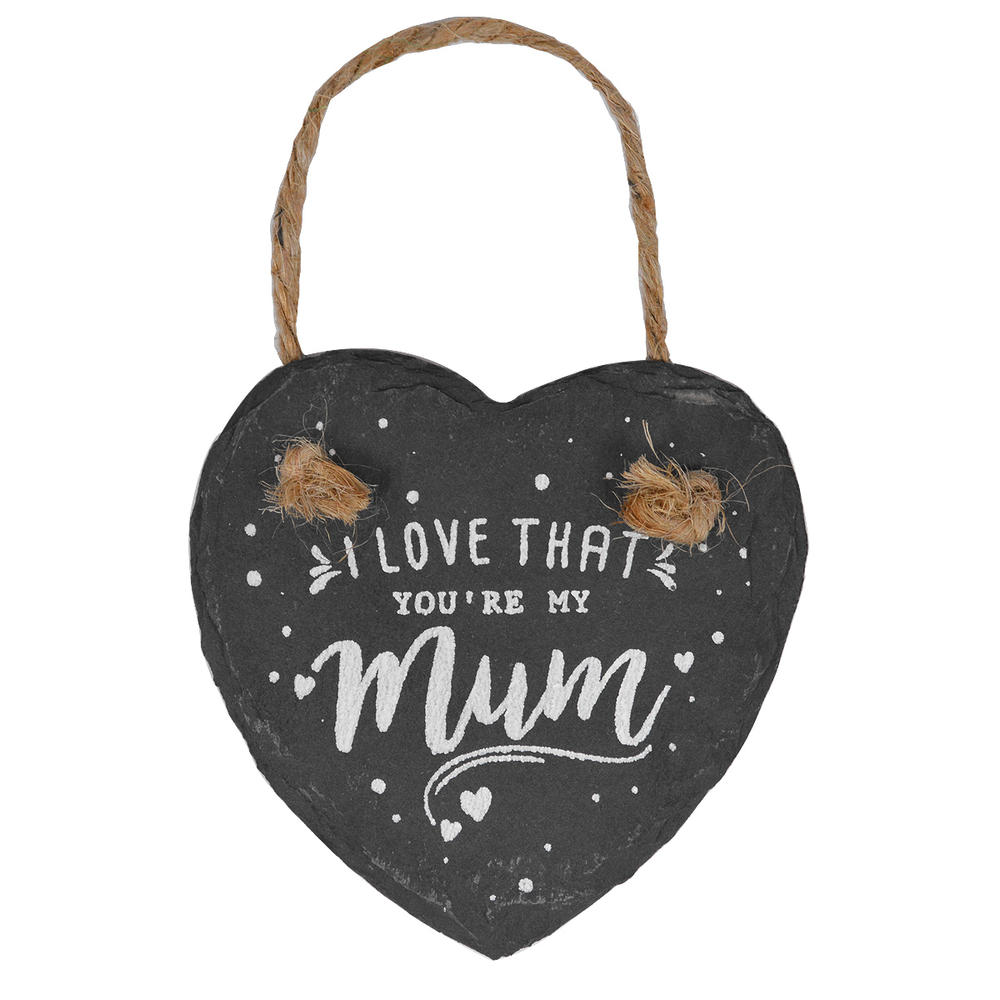 I Love That You're My Mum Mini Heart Shaped Hanging Slate Plaque