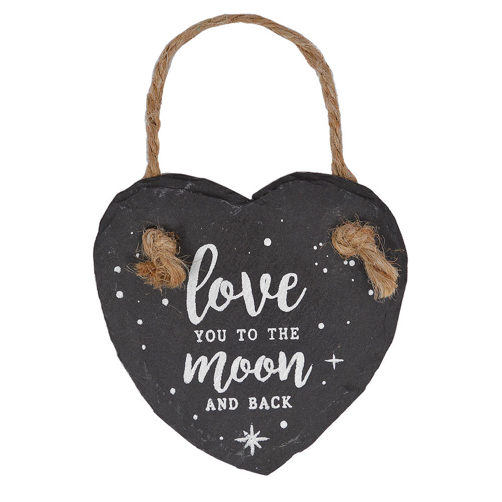 Love You To the Moon & Back Mini Heart Shaped Hanging Slate Plaque