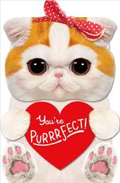 You're Purrrfect Cute 3D Cat Valentine's Day Greeting Card