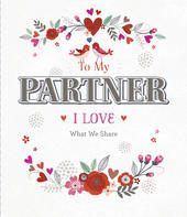 To My Partner Embellished Valentine's Day Greeting Card