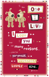 Boofle One I Love Valentine's Day Card