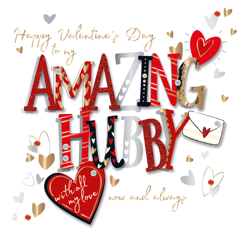 Amazing Hubby Happy Valentines Day Greeting Card Cards