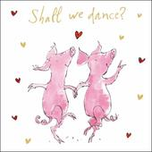 Quentin Blake Valentine's Day Dancing Pigs Greeting Card