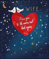 Love You To The Moon Wife Valentine's Day Greeting Card