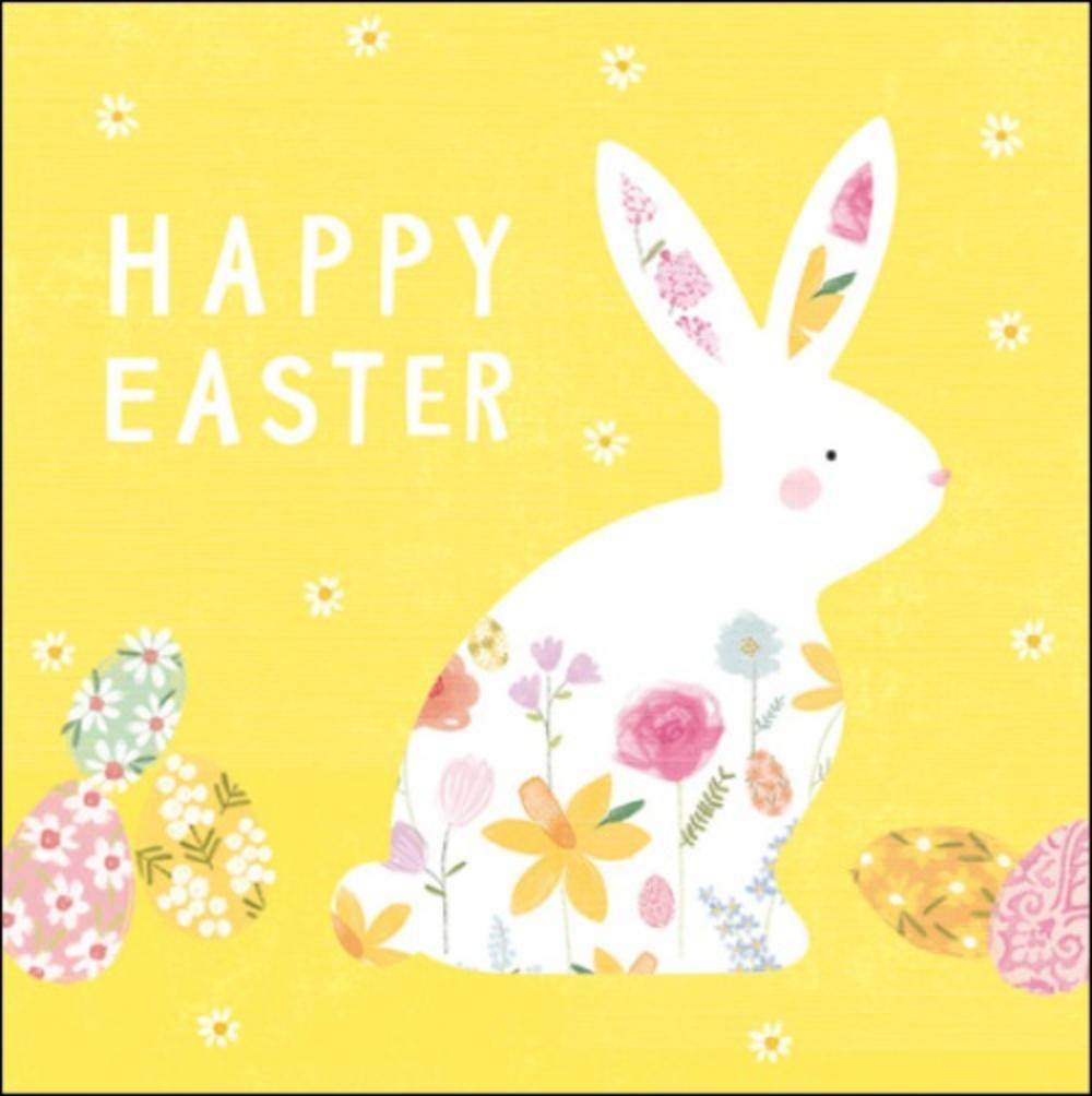 Pack of 5 Pretty Happy Easter Bunny Greeting Cards
