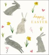 Pack of 5 Bunny Happy Easter Greetings Cards