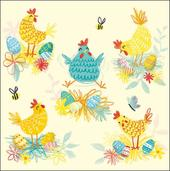Spring Chickens Single Mini Happy Easter Greeting Card