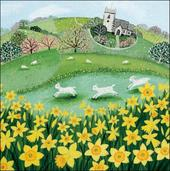 Sping Day With Church Single Mini Happy Easter Greeting Card