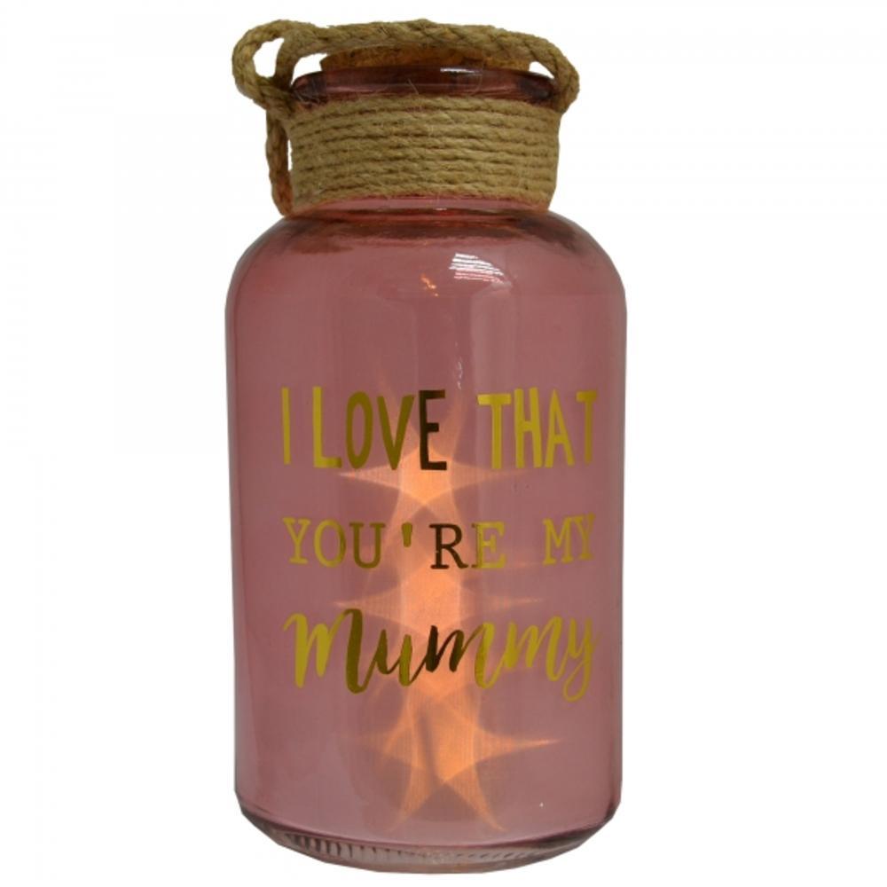 Mummy Pink Light Up Illuminated Jar With Rope Gift