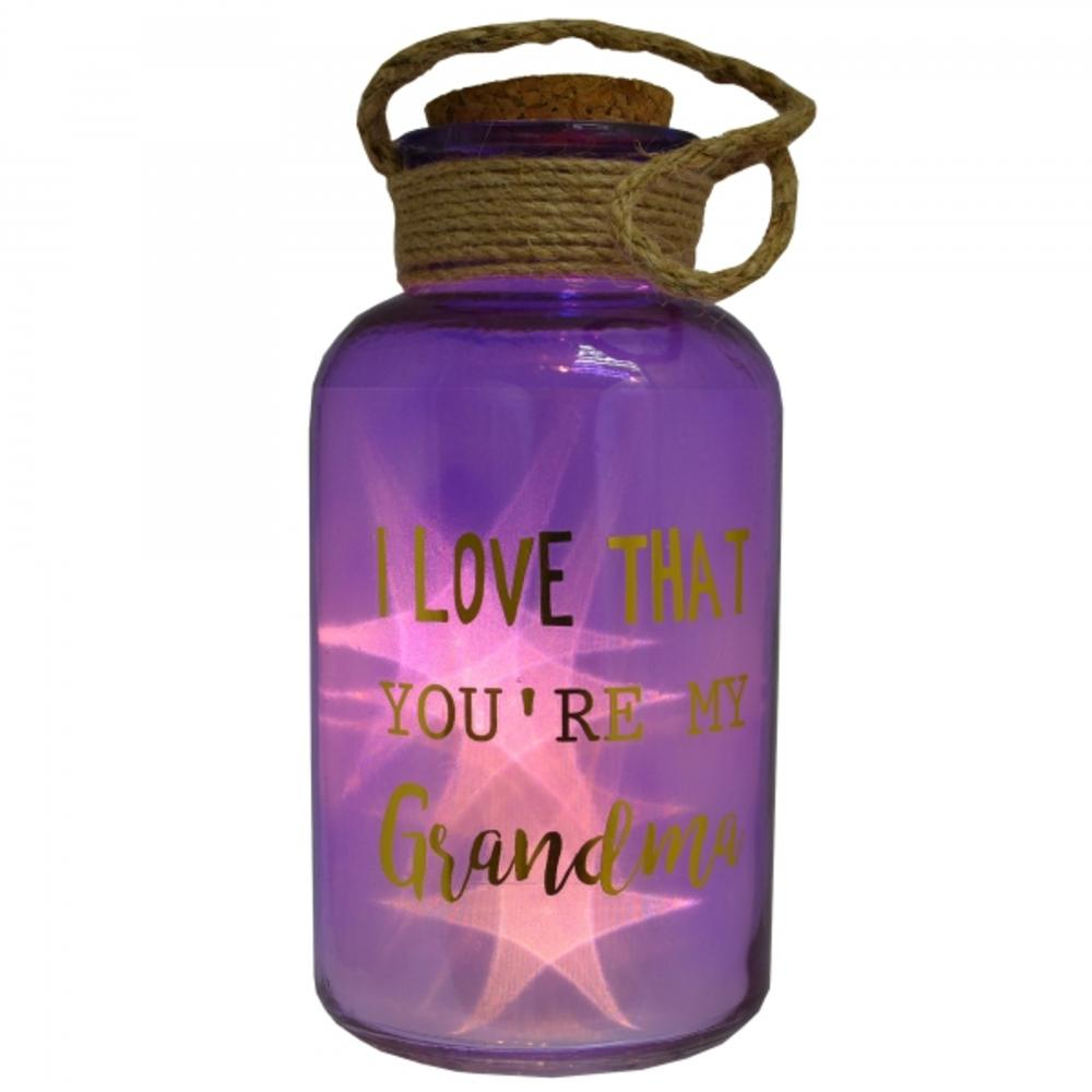Grandma Purple Light Up Illuminated Jar With Rope Gift