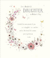 To A Daughter On Mother's Day Embellished Card