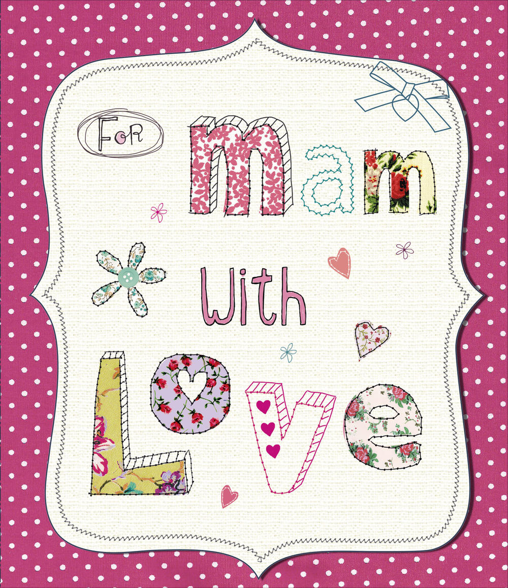For Mam With Love Embellished Mother's Day Card