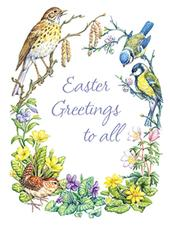 Pack of 4 Spring Birds Mini Medici Happy Easter Greeting Cards