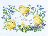 Pack of 4 Chicks & Flowers Mini Medici Happy Easter Greeting Cards