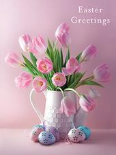 Pack of 4 Vase Tulips Mini Medici Happy Easter Greeting Cards