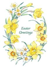 Pack of 4 Daffodils Mini Medici Happy Easter Greeting Cards