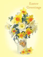 Pack of 4 Vase Daffodils Mini Medici Happy Easter Greeting Cards