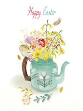 Pack of 4 Spring Flowers Mini Medici Happy Easter Greeting Cards