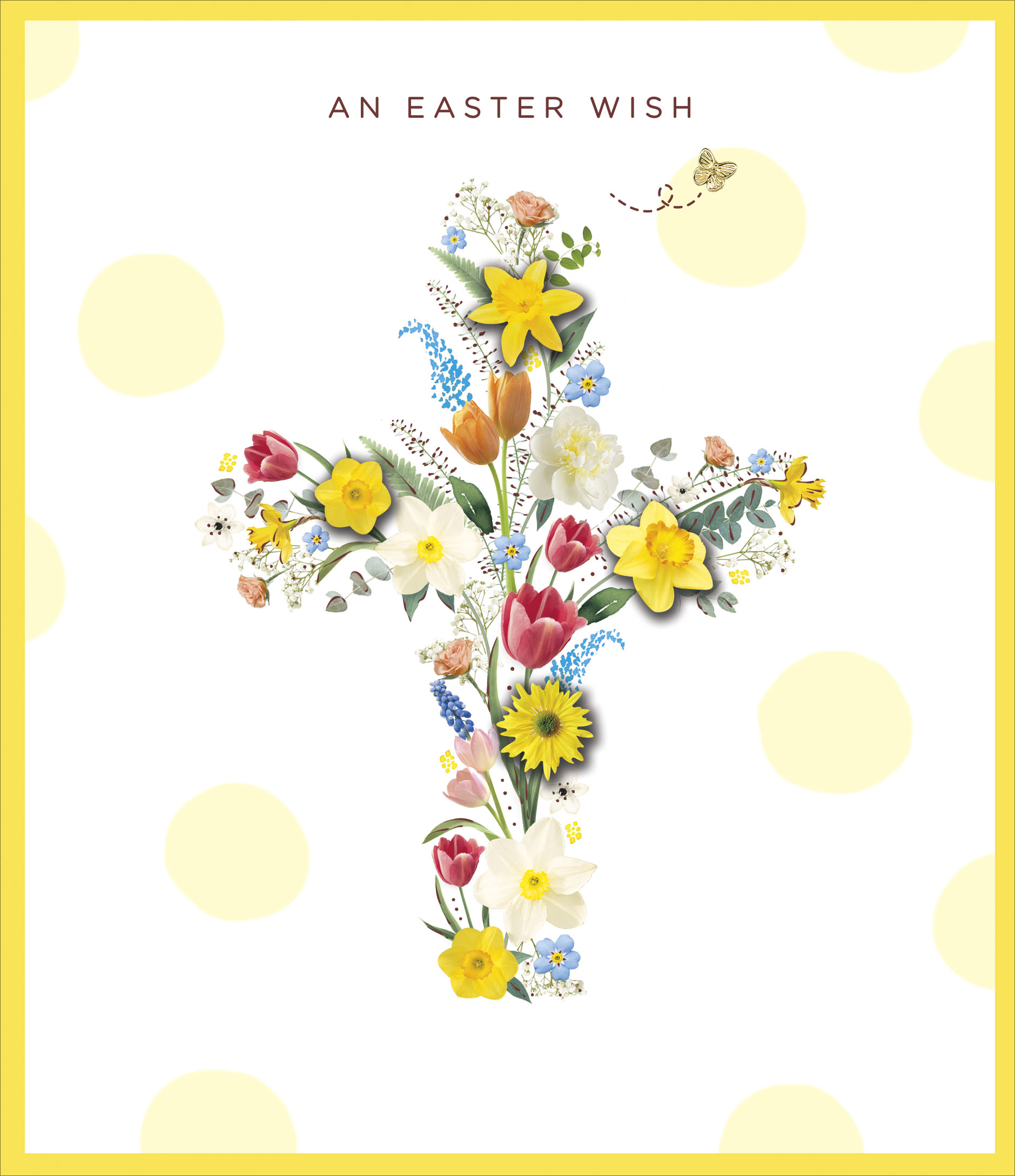 An Easter Wish Flower Cross Embellished Easter Greeting Card Cards