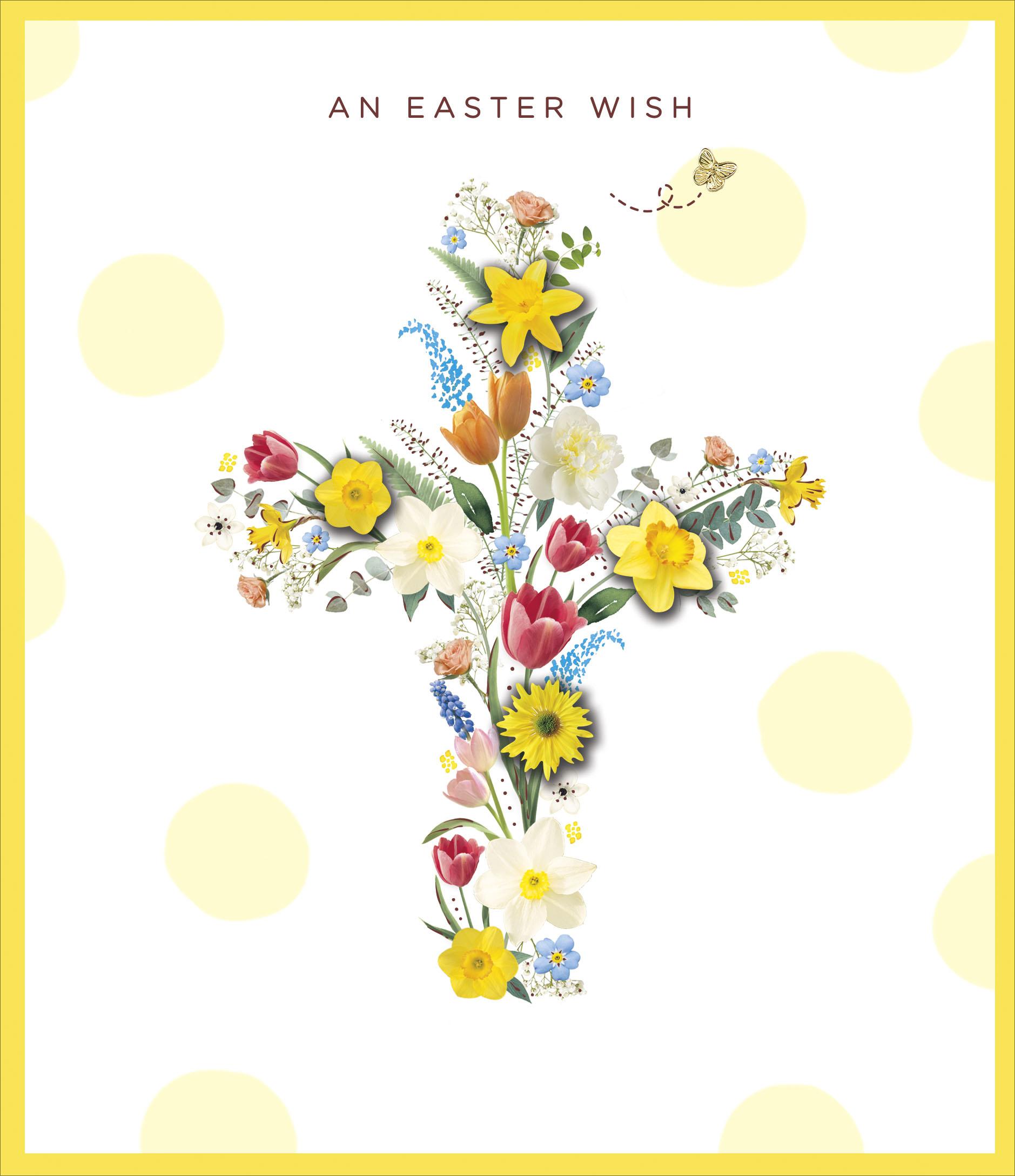 An easter wish flower cross embellished easter greeting card cards an easter wish flower cross embellished easter greeting card m4hsunfo