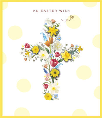 An Easter Wish Flower Cross Embellished Easter Greeting Card