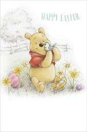 Pack of 5 Pooh Bear Happy Easter Greeting Cards