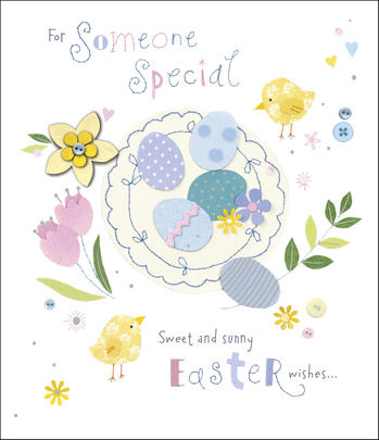 Someone Special Embellished Button Box Easter Greeting Card