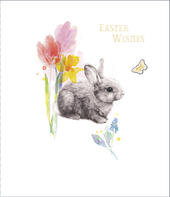 Easter Wishes Cute Bunny Embellished Happy Easter Greeting Card