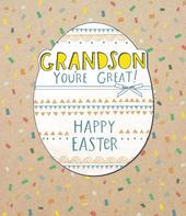Grandson Embellished Happy Easter Greeting Card