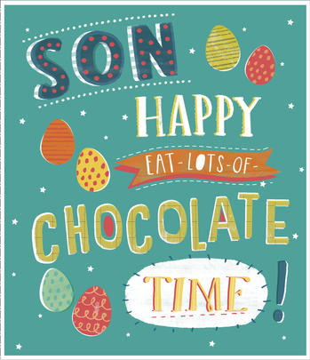 Son Eat Lots Chocolate Happy Easter Greeting Card