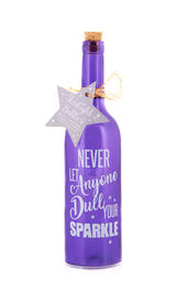 Never Let Anyone Dull Your Sparkle Starlight Bottle Glass Light Up Bottles Gift