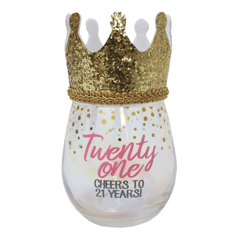21st Birthday Stemless Wine Glass With Wearable Gold Crown