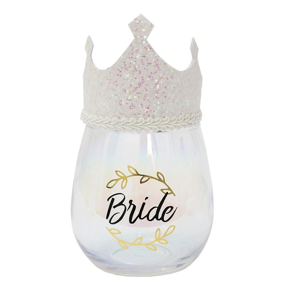 Bride Stemless Wine Glass With Wearable Tiara
