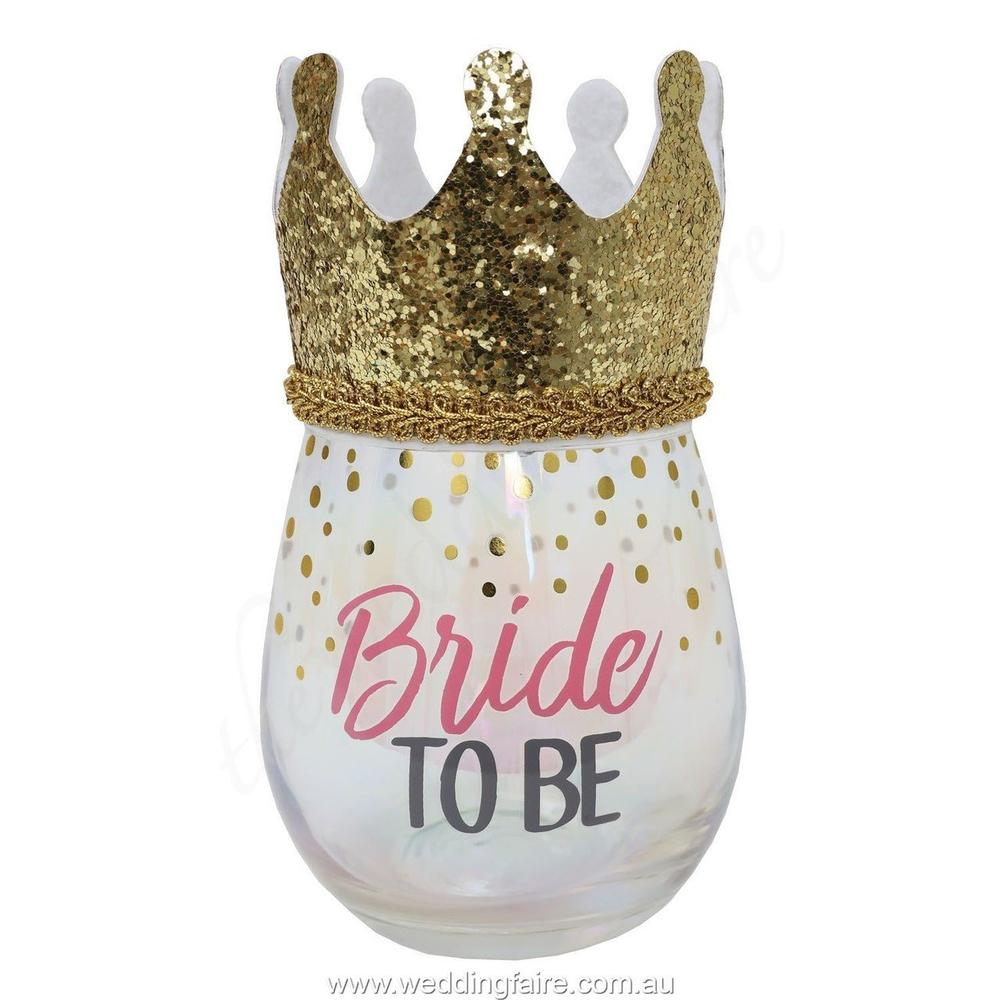 Bride To Be Stemless Wine Glass With Wearable Gold Crown